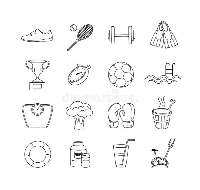 De Pictogrammen van de geschiktheidslijn Sport en de reeks van het opleidingspictogram Vector illustratie royalty-vrije illustratie