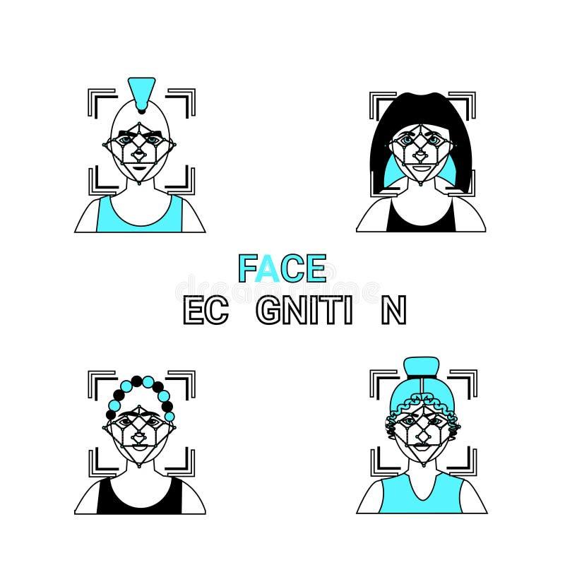 De Pictogrammen van de gezichtserkenning Geplaatst Biometrisch de Identiteitsconcept van de Identificatietoegang vector illustratie