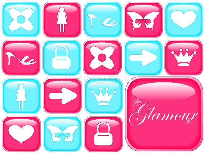 De pictogrammen van Girly stock fotografie