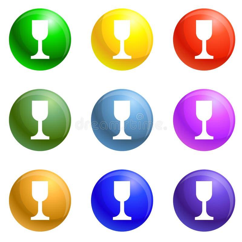 De pictogrammen van de glaskruik geplaatst vector royalty-vrije illustratie