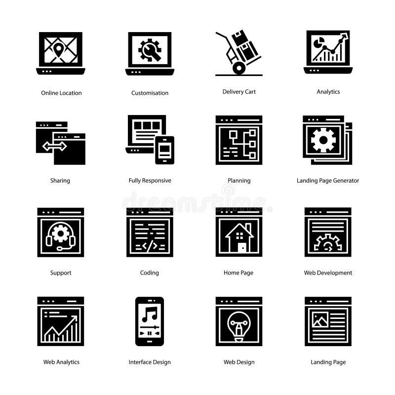 De Pictogrammen van Glyph van het websitelandingspagina royalty-vrije stock fotografie