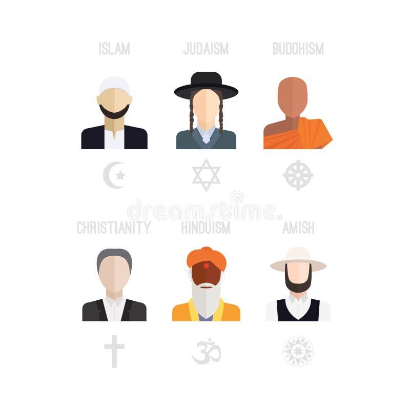 De Pictogrammen van godsdienstmensen stock illustratie