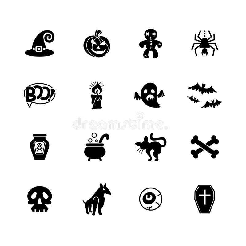 De pictogrammen van Halloween Reeks pictogrammen op een thema van een vakantie van Halloween royalty-vrije illustratie