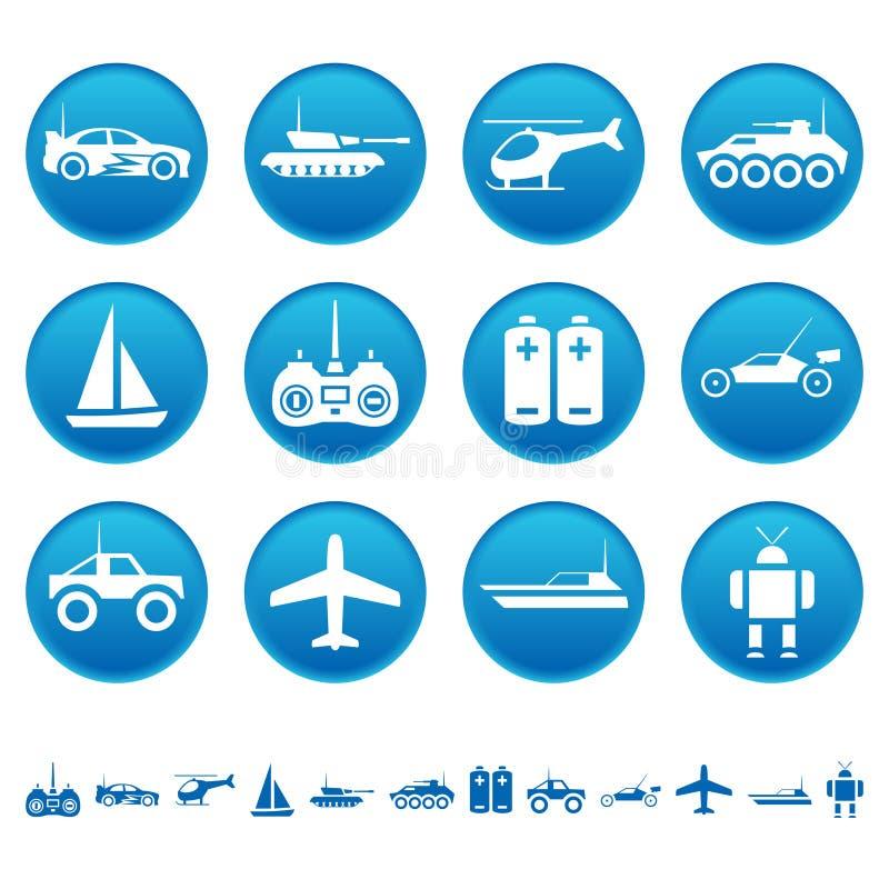 De pictogrammen van het afstandsbedieningspeelgoed vector illustratie