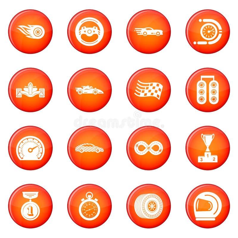 De pictogrammen van het autoras geplaatst rode vector vector illustratie