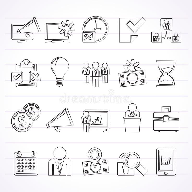 De pictogrammen van het bedrijfseconomieconcept royalty-vrije illustratie