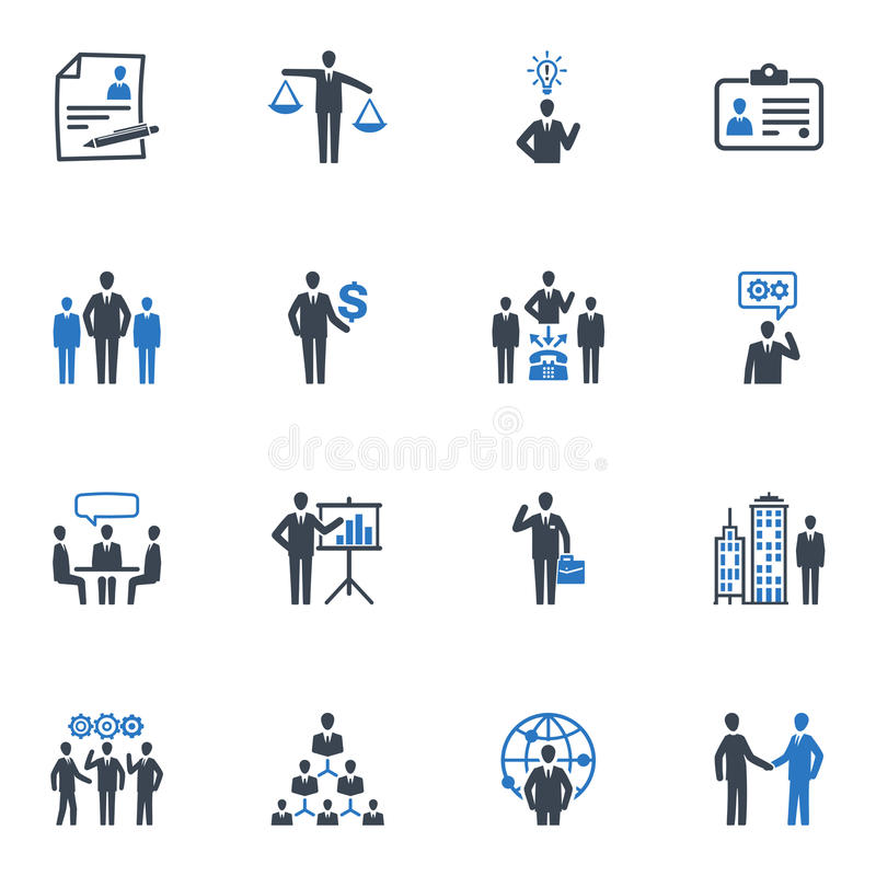 De Pictogrammen van het beheer en van Menselijke middelen - Blauwe Reeks royalty-vrije illustratie