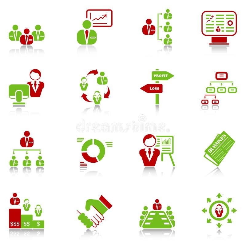 De pictogrammen van het beheer - groen-rode reeks royalty-vrije illustratie