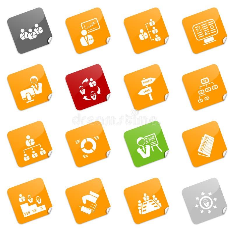De pictogrammen van het beheer - kleverige reeks vector illustratie