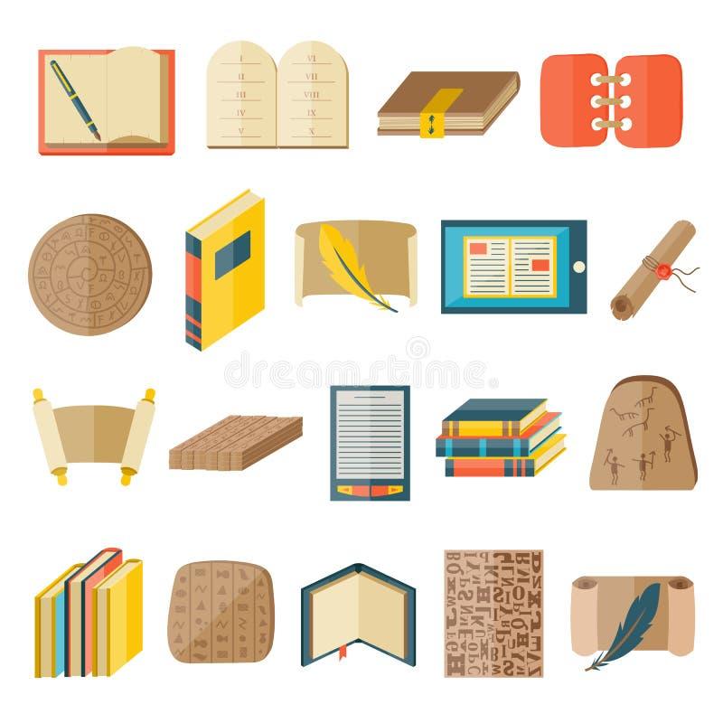 De pictogrammen van het boekbeeldverhaal omvatten de normale vector van de het onderwijsstaat van de typografiebibliotheek stock illustratie