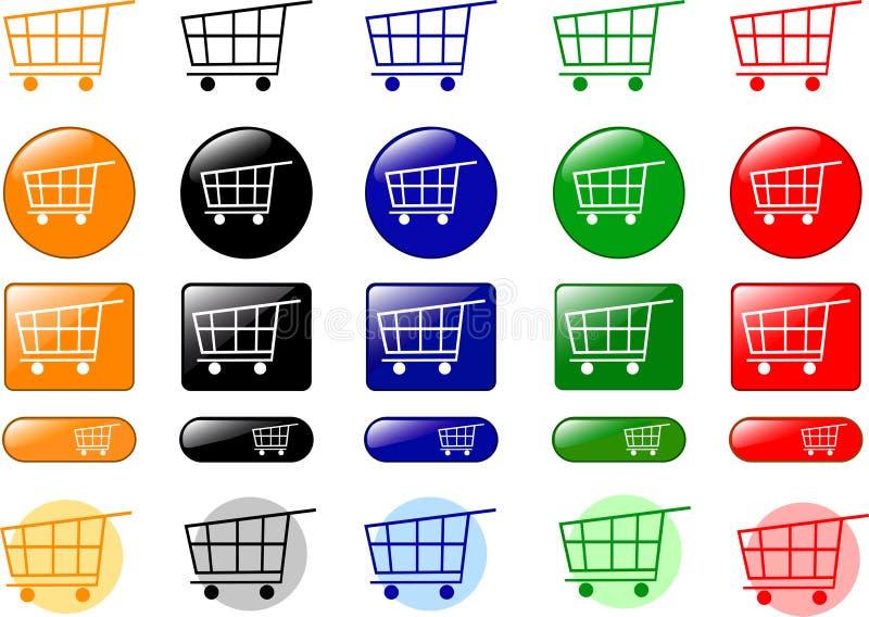 De pictogrammen van het boodschappenwagentje royalty-vrije illustratie