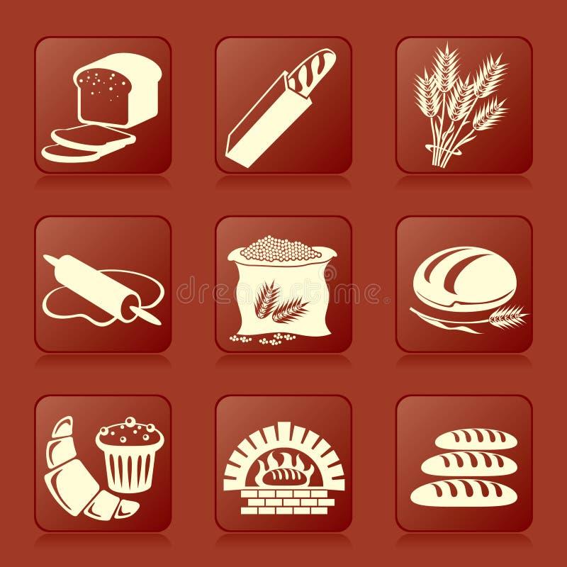 De pictogrammen van het brood vector illustratie