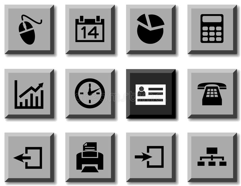 De pictogrammen van het bureau. vector illustratie