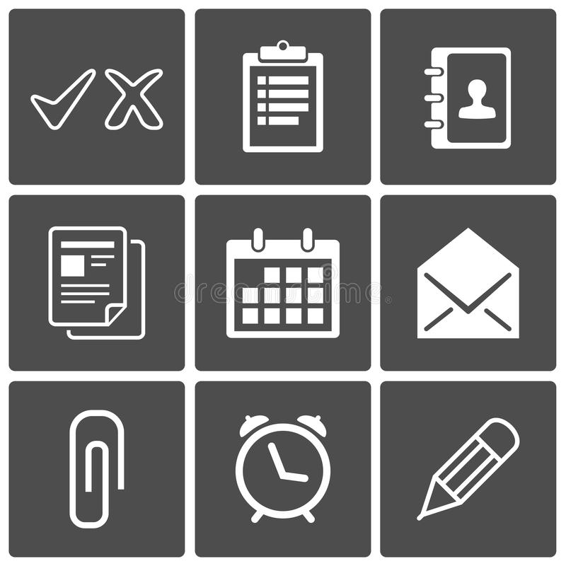 De pictogrammen van het bureau stock illustratie