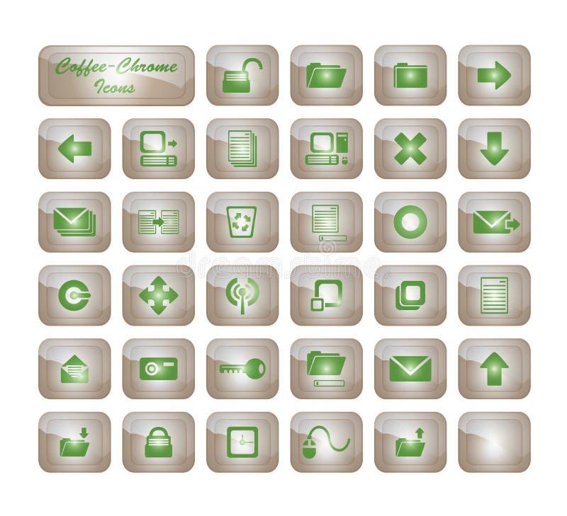 De Pictogrammen van het Chroom van de koffie stock foto's