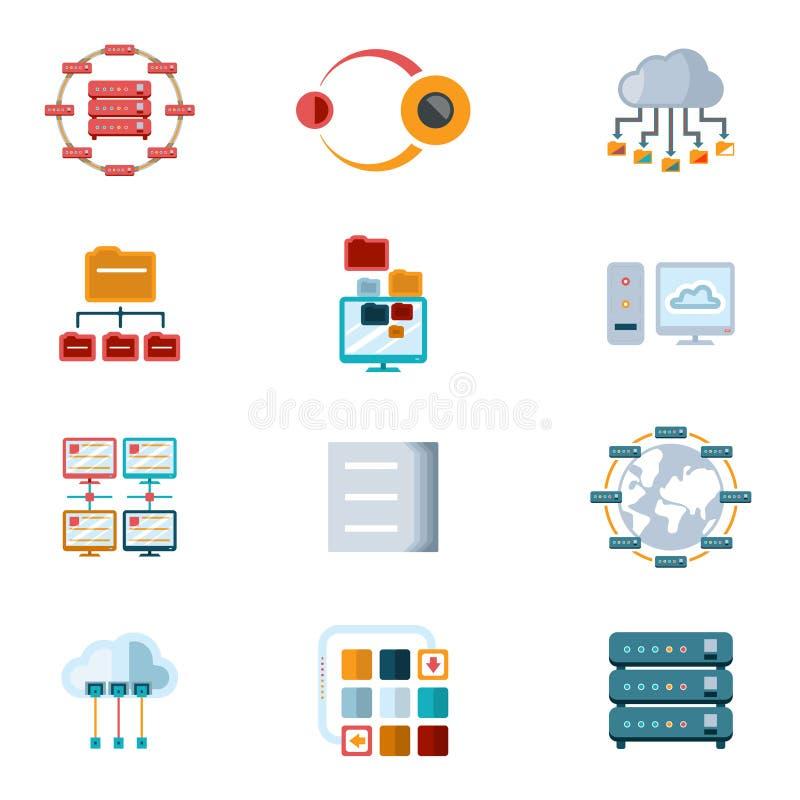De Pictogrammen van het computervoorzien van een netwerk vector illustratie