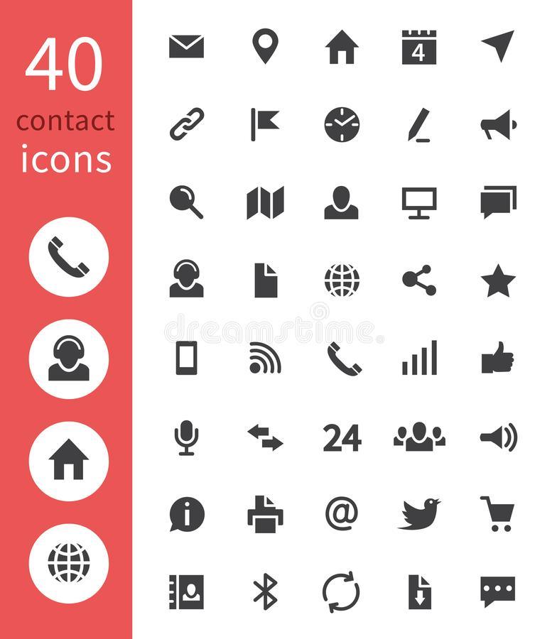 De pictogrammen van het contactweb De telefoon, het huisadres, e-mail en de websitezaken contacteren vector geïsoleerde symbolen vector illustratie