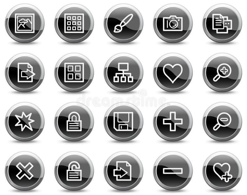 De pictogrammen van het de bibliotheekWeb van het beeld, zwarte cirkelknopen royalty-vrije illustratie