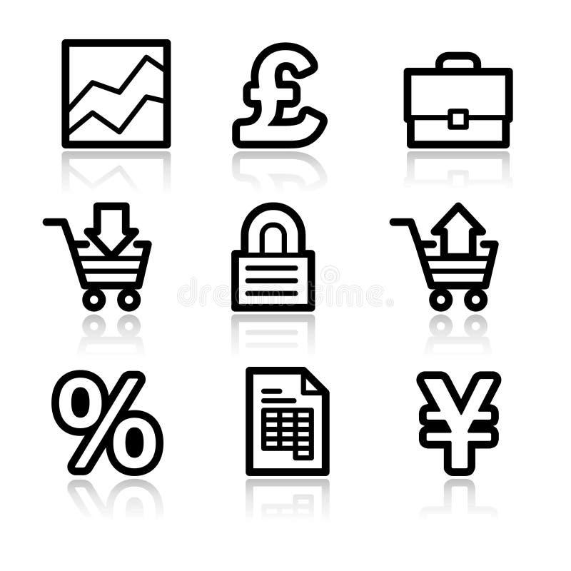 De pictogrammen van het de contourWeb van het e-business royalty-vrije illustratie
