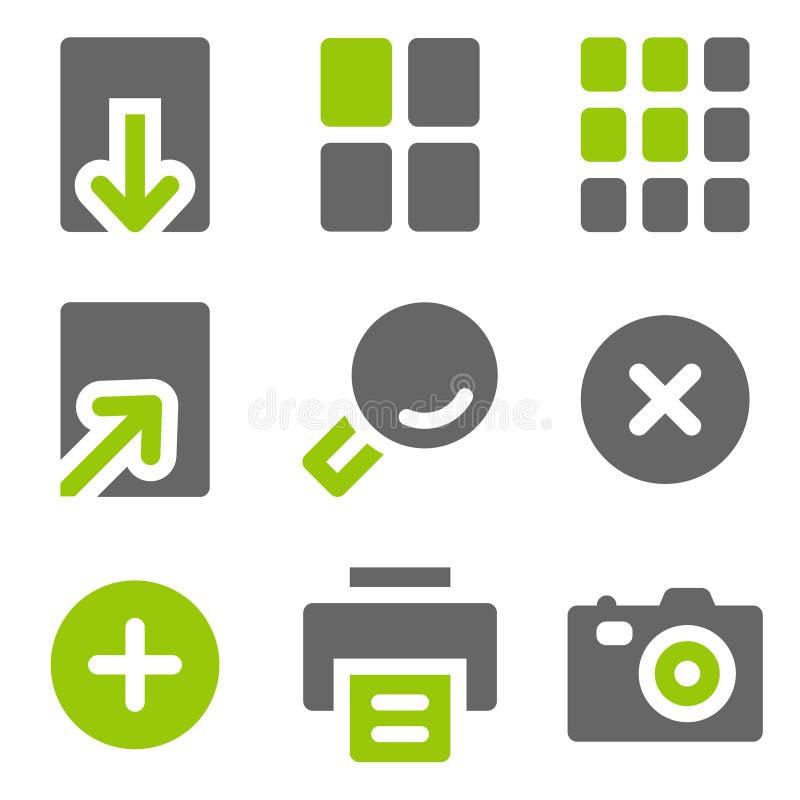 De pictogrammen van het de kijkersWeb van het beeld, groene grijze stevige pictogrammen stock afbeeldingen