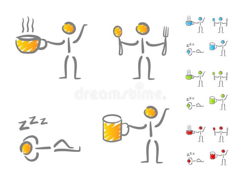 De pictogrammen van het de levensstijlgekrabbel van mensen vector illustratie