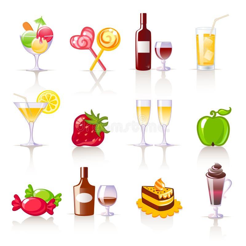 De pictogrammen van het dessert en van dranken royalty-vrije illustratie
