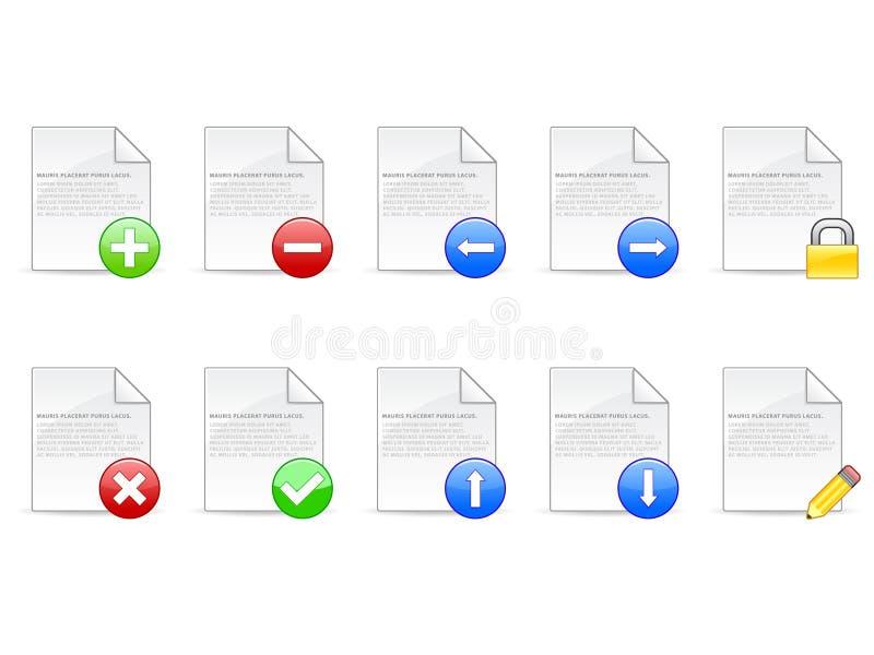 De Pictogrammen van het document stock illustratie