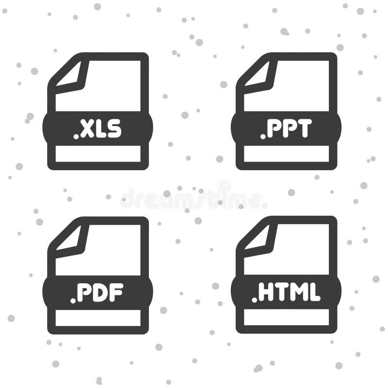 De pictogrammen van het documentdossier Download XLS, van PPT, van PDF en HTML-symboolteken De knopen van het Web royalty-vrije illustratie