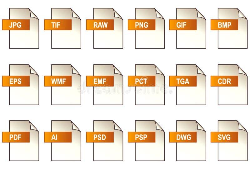 De Pictogrammen van het Dossier van de grafiek (EPS+JPG) stock illustratie