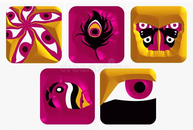 De Pictogrammen Van Het Embleem Plaatsen 5 Royalty-vrije Stock Afbeeldingen