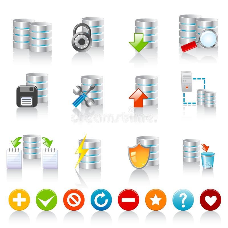 De pictogrammen van het gegevensbestand stock illustratie