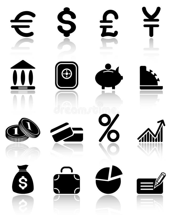 De pictogrammen van het geld stock illustratie