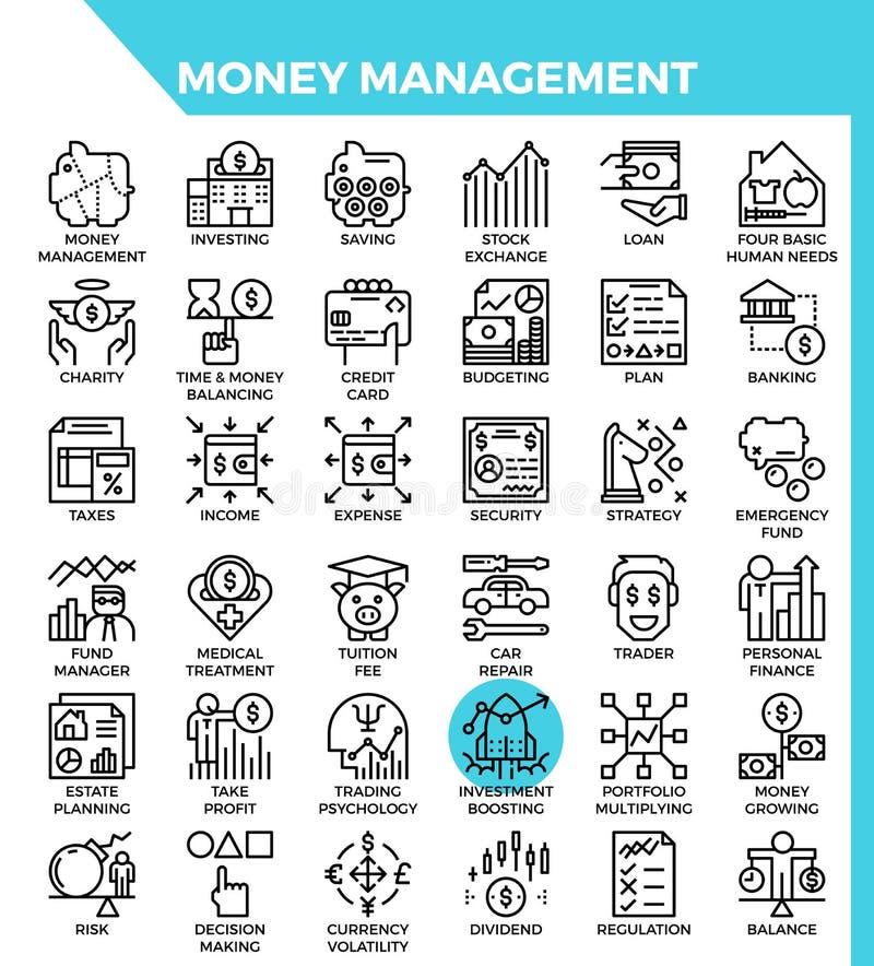 De pictogrammen van het geldbeheer stock illustratie