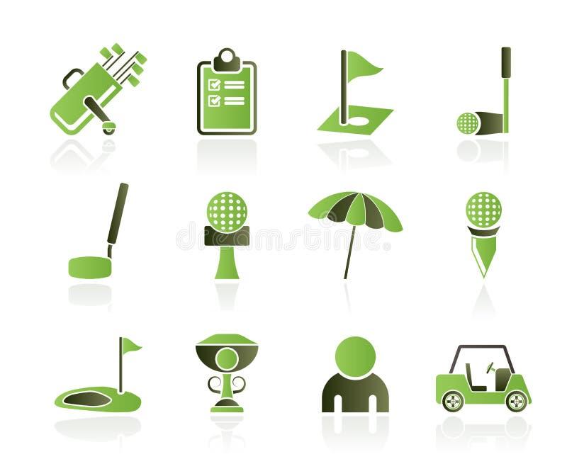 De pictogrammen van het golf en van de sport stock illustratie