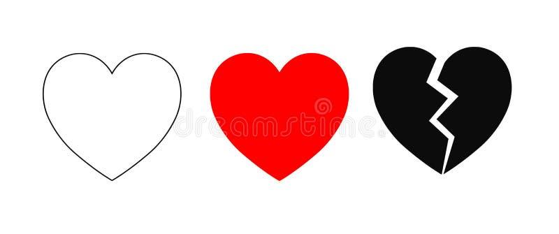 De Pictogrammen van het hart stock illustratie