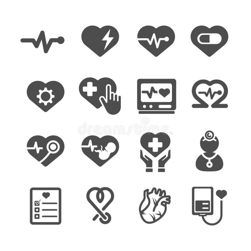 De Pictogrammen van het hart Medisch en gezondheidszorgconcept Glyph en van de overzichtenslag pictogrammenthema Teken en Symbool stock illustratie