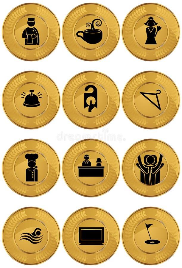 De Pictogrammen van het hotel/Knopen - Ronde - Goud vector illustratie