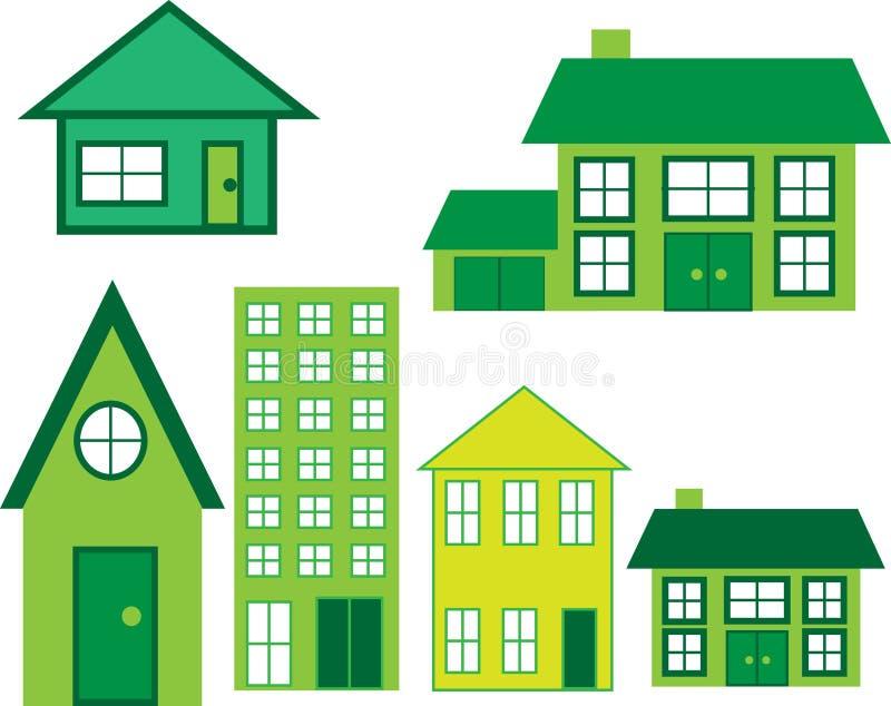De Pictogrammen van het huis in groen stock illustratie