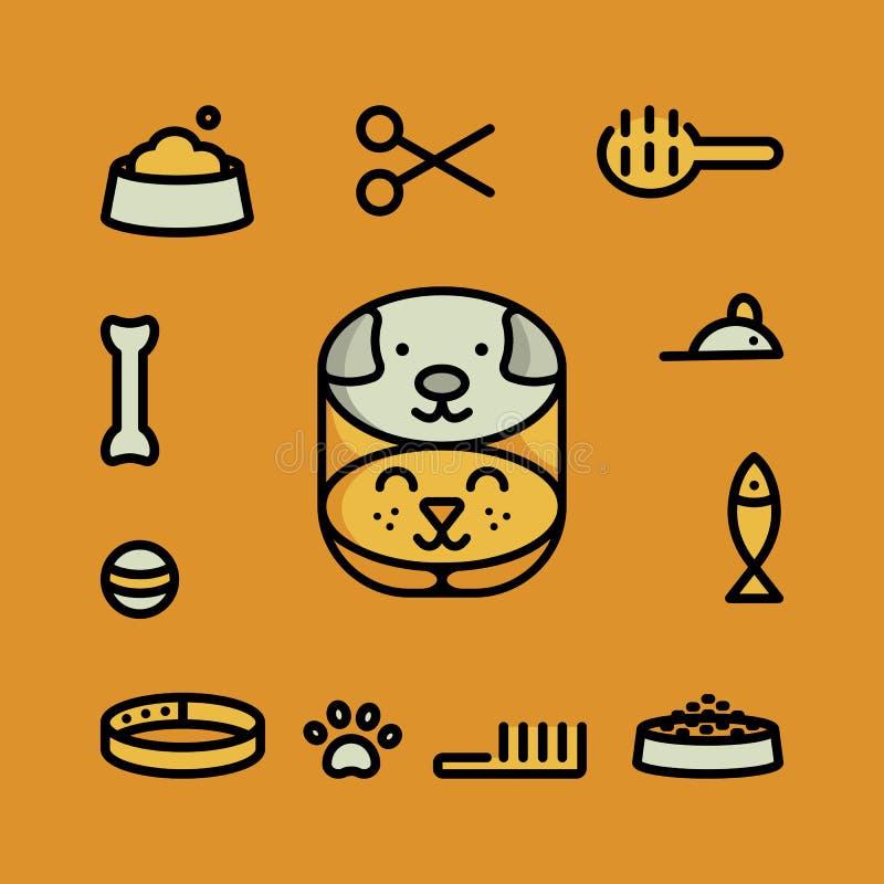 De pictogrammen van het huisdierensymbool stock illustratie