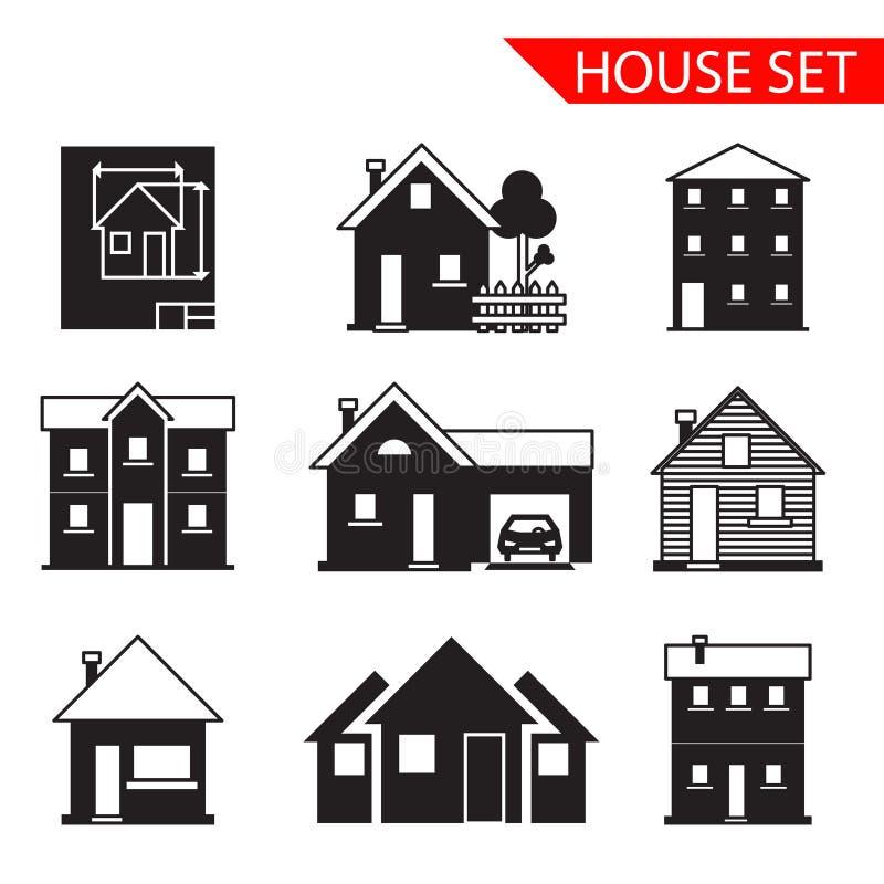 De pictogrammen van het huissilhouet geplaatst geïsoleerde vector royalty-vrije illustratie