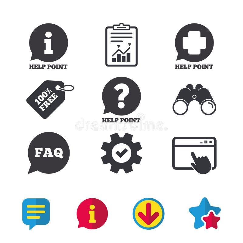 De pictogrammen van het hulppunt Vraag, informatiesymbool stock illustratie