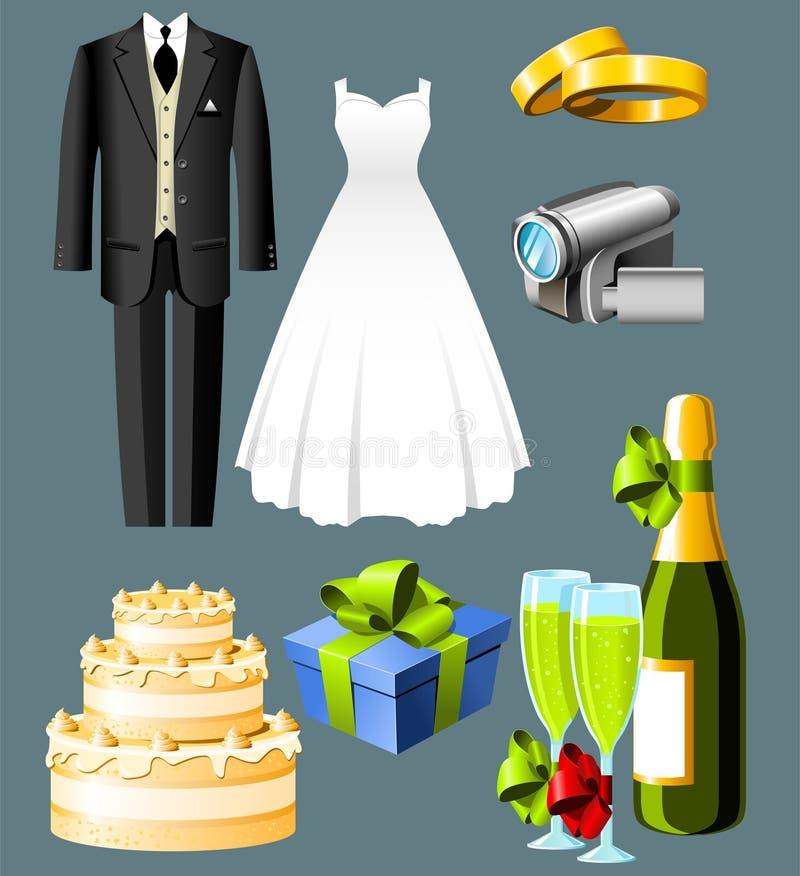 De pictogrammen van het huwelijk vector illustratie