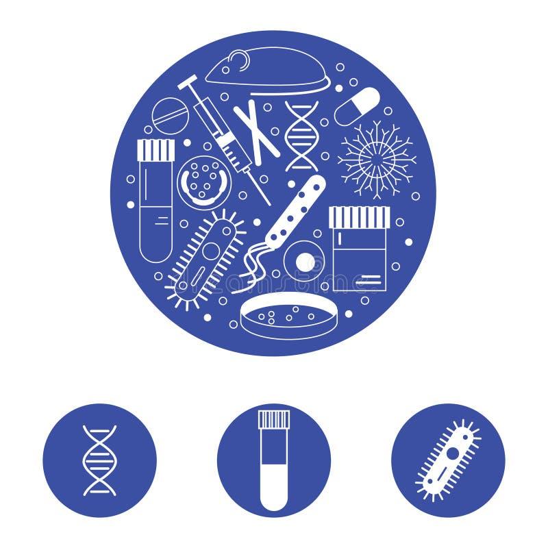 De pictogrammen van het immunologieonderzoek stock illustratie