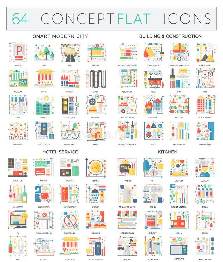 De pictogrammen van het Infographicsconcept van slimme stad, bouwconstructie, de herbergendienst, keuken Vlakke de vector van de  vector illustratie