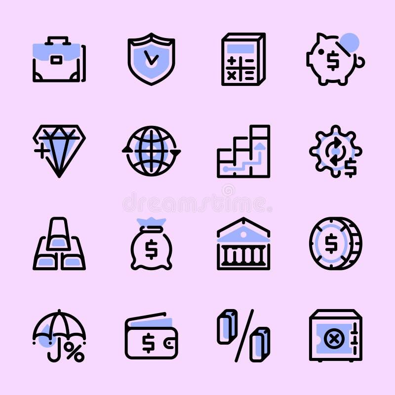 De pictogrammen van het inzamelingsweb, symbolen, pictogrammen op het thema: geld, banken, merk stock illustratie