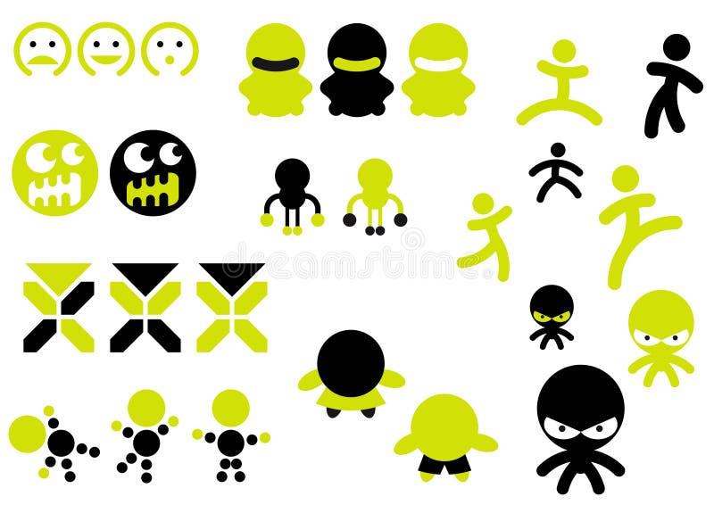 De pictogrammen van het karakter