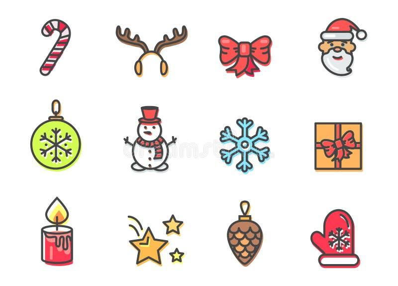 De Pictogrammen van het Kerstmisthema Geplaatst Vectorillustratie vector illustratie