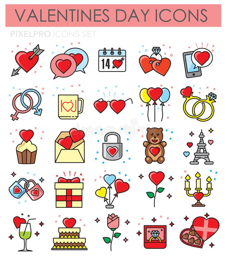 De pictogrammen van het de kleurenoverzicht van de Valentinessdag die op witte achtergrond voor grafisch en Webontwerp worden gep vector illustratie