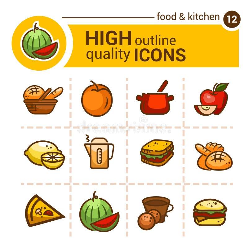 De pictogrammen van het kleurenvoedsel vector illustratie