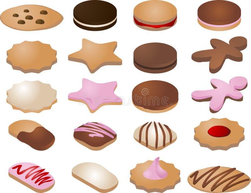 De pictogrammen van het koekje stock illustratie
